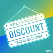 Superb Discount Sales Banner. Isolated Hanging Cheap Vector Sign. EPS10 Illustration Design — Stock Vector