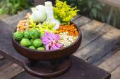 Thai traditional Herbal balls and herbs — Stock Photo