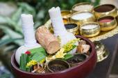 Thai Herbal balls and herbs — Stock Photo