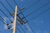 Electrical post by the road — Stock Photo