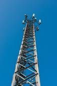 Transmitter mast and barbed wire — Stock Photo