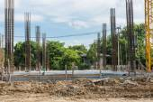 The construction site with foundation pile — Stock Photo
