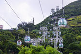 OCEAN PARK, HONGKONG - JUNE 11, Cable car of Ocean Park. Cable car carries tourists up to the entertainment park. Many Tourist especially from China visit Ocean Park Hong Kong on JUNE, 11 2015 — Fotografia Stock