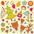 Christmas tree, teddy bears and plants — Stock Vector #53187007