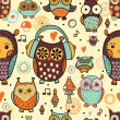 Seamless pattern with owls — Stock Vector #55388937