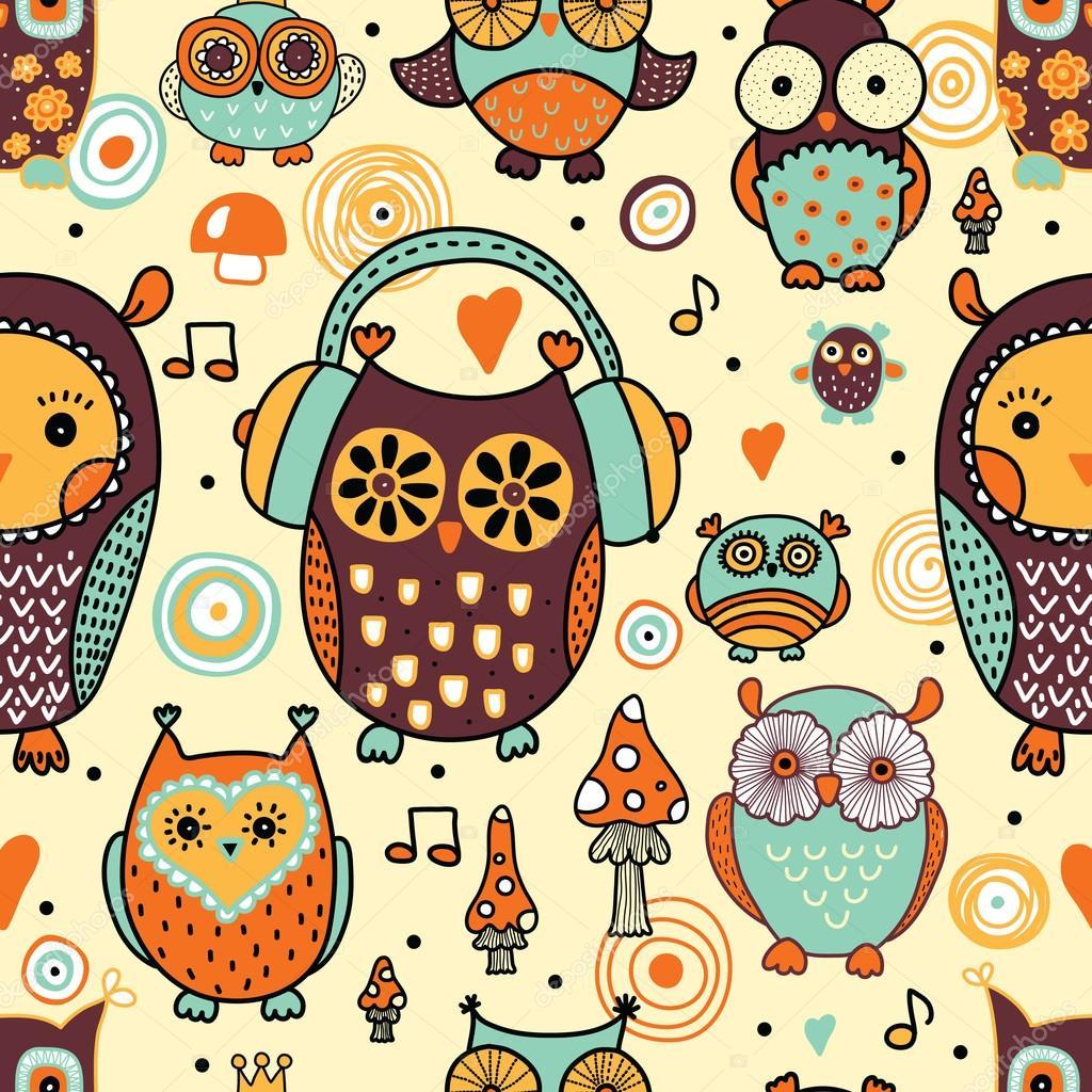 Seamless pattern with owls stock vector vyazovskaya - Papel decorativo infantil ...