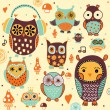 Owls seamless pattern. — Stock Vector #56124017