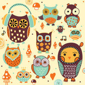 Owls seamless pattern. — Stock Vector