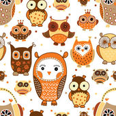Seamless pattern with owls. — Stock Vector