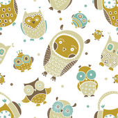 Cute owls seamless pattern. — Stock Vector