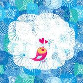 Cute bird sing — Stock Vector