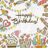 Happy Birthday postcard. — Stock Vector