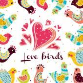 Cute love birds. — Stock Vector
