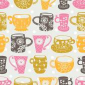 Cute cups  pattern. — Stock Vector