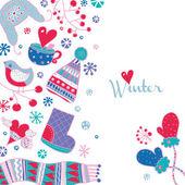 Winter cute postcard. — Stock Vector