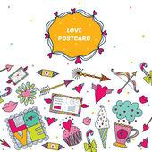 Colorful Love Postcard — Vetorial Stock