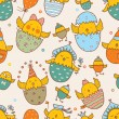 Seamless pattern with cute chickens — Stock Vector #62686365