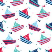 Colorful ships seamless pattern — Vetorial Stock