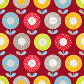 Seamless pattern with cute flowers motif — Stock Vector