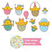 Set of cute chicks — Stock Vector