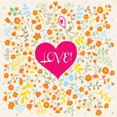 Heart with floral background — Stock Vector