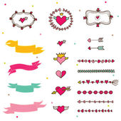 Holiday hearts and labels — Stock Vector