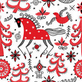 Pattern with horse and bird — Stockvector