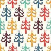 Colorful fir trees with hearts pattern — Stockvector