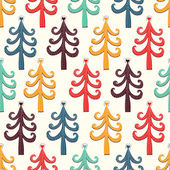Colorful fir trees with hearts pattern — Vecteur