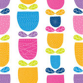 Cartoon spring flowers pattern — Stock Vector