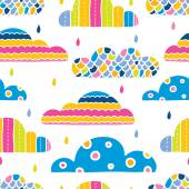 Cartoon colorful rainy clouds — Vector de stock