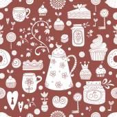 Cute tea seamless pattern. — Stock Vector