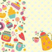 Postcard with  Spring tea — Vecteur