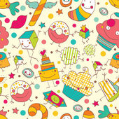 Pattern with different sweets — Vetor de Stock