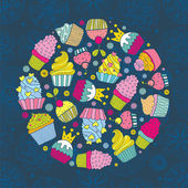 Cakes round motif — Stock Vector
