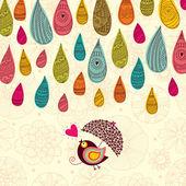 Rain and bird under an umbrella — Stock Vector