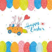 Rabbits ride on car. — Stock Vector