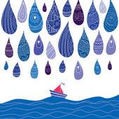 Sailing boat and rain. — Stock Vector