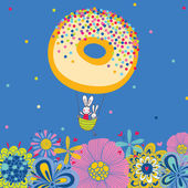 Rabbits fly on a donut. — Stock Vector