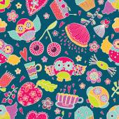 Seamless pattern with owls. — 图库矢量图片
