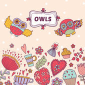 Cute  postcard with owls. — Vector de stock