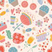 Sweets and flowers  pattern. — Stock Vector