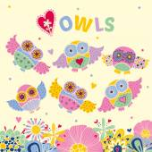 Postcard with owls and flowers — Stockvektor