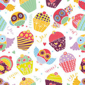 Owls and cupcakes  pattern. — Stock Vector