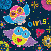 Postcard with cute colorful  owls — Stok Vektör