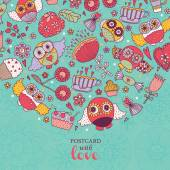 Postcard with owls, sweets and flowers — Stockvektor