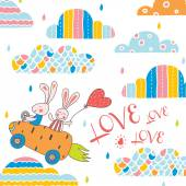 Cute love postcard. — Stock Vector
