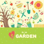 Cute garden postcard — Stock Vector