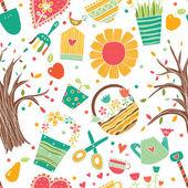 Garden postcard with flowers — Stock Vector