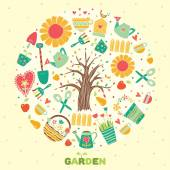 Cute garden motif. — Stock Vector